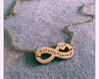 Handstamped infinity charm necklace