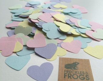"""Love Heart Table Confetti PAPER 1"""" Pastel - Wedding/Engagement/Anniversary"""