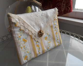 Upcycled Vintage Bag, Accessories, Cosmetics, Jewerly, Yellow, Cream, Padded, Lined, Floral, Vintage Linen Napkin, One of a Kind
