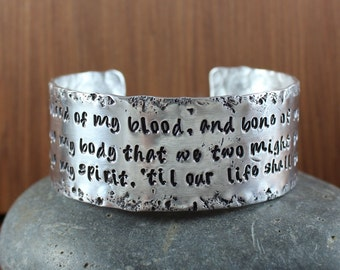 Jamie and Claire's Wedding Vows bracelet  - Outlander inspired - Blood of my Blood, Bone of my Bone