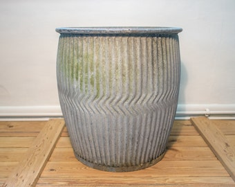 Vintage and original peggy/dolly tub - galvanised metal tub/barrel for potting, planting or garden decoration