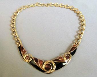 Trifari Signed Enamel Collar Necklace, Shades of Brown Enamel Necklace