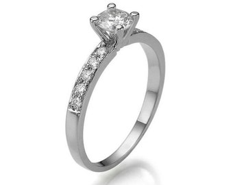0.45 CT Solitaire Diamond with Accents Engagement Ring Platinum Round D VS1 Model JR-158K