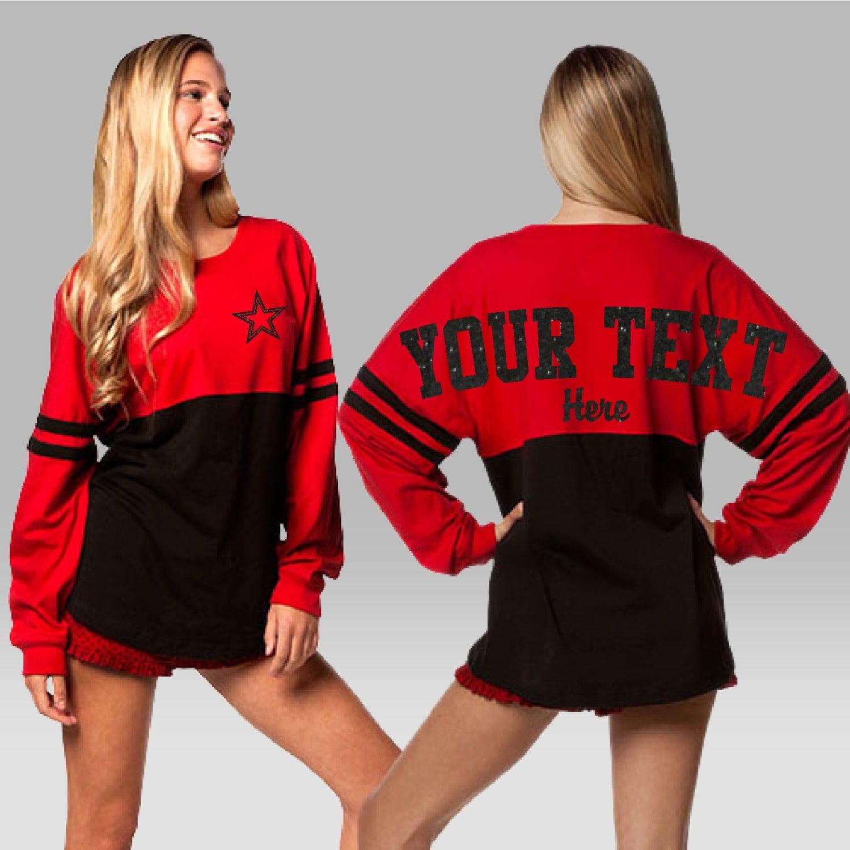 Custom Pom Pom Jersey Spirit Shirt Cheer Jerseys Long