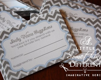 Baby Name Suggestion Cards Blue and Grey / Baby Name Suggestion Cards Blue and Gray / Baby Name Suggestion Cards for a Boy /