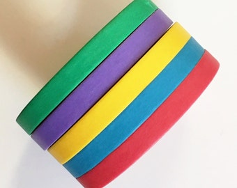 5 piece Skinny Washi Tape Bolds Red, Blue, Yellow, Purple and Green each roll is 5mm x 10m