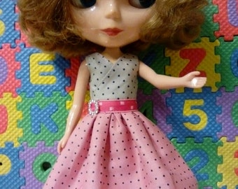 Blythe Doll Outfit Cloth Crystal Ring Two Color Dot dress