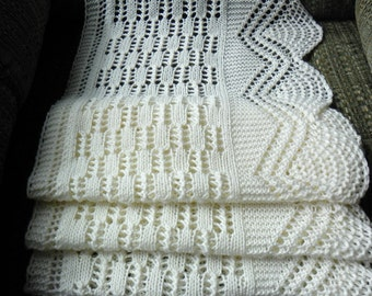 Pattern to knit Icicles and Snowballs Lace Scarf DK weight yarn