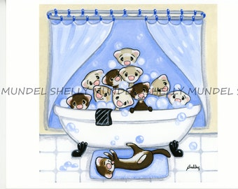 """Art by Shelly Mundel. Ferret People Collection """"Swimming Hole"""""""