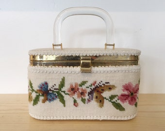 1960s Needlepoint Box Purse // Needlepoint Butterflies and Flowers Purse // Box Purse with Lucite Handle