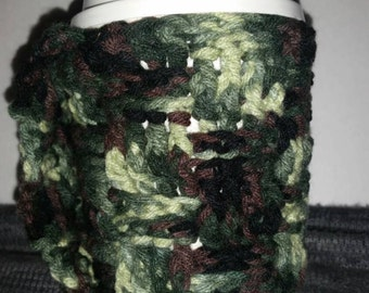 Crochet Camouflage Cup Cozy with Carry Handle, Basket Weave Pattern