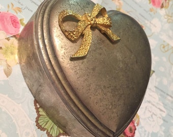 Vintage Metal Heart Jewellery Box With Gold Bow Detail