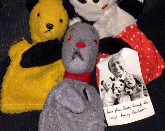 Sale - Vintage Chad Valley Sooty, Sue And Sweep Hand Puppets With Signed publicity Photograph