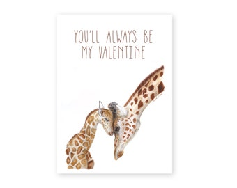 giraffe art for mom valentines day card mom and baby animals valentine for