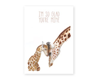 Giraffe Card for Mom - Mother's Day Card - Mom and Baby Animals - for Mom - Mom to Be - New Mom - Mother - Mother's Day - Animal Card - Gift