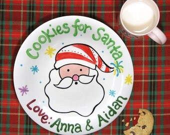 Santa Cookie Plate - Christmas Cookies - Gift for Kids - Kids Christmas - Cookies for Santa Ceramic - Hand Painted  Christmas Decorations