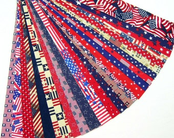 USA Patriotic Jelly Roll 24 Cotton Quilt Fabric Strips Novelty No Duplicates Red White Blue