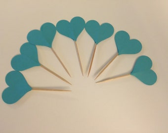 Teal Heart Cupcake Toppers