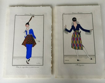 Costumes Parisiens Pochoir Original Fashion Plate