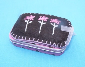 Hand-embroidered Felt Chocolate Pink Daisy Needlecase and Sewing Tin