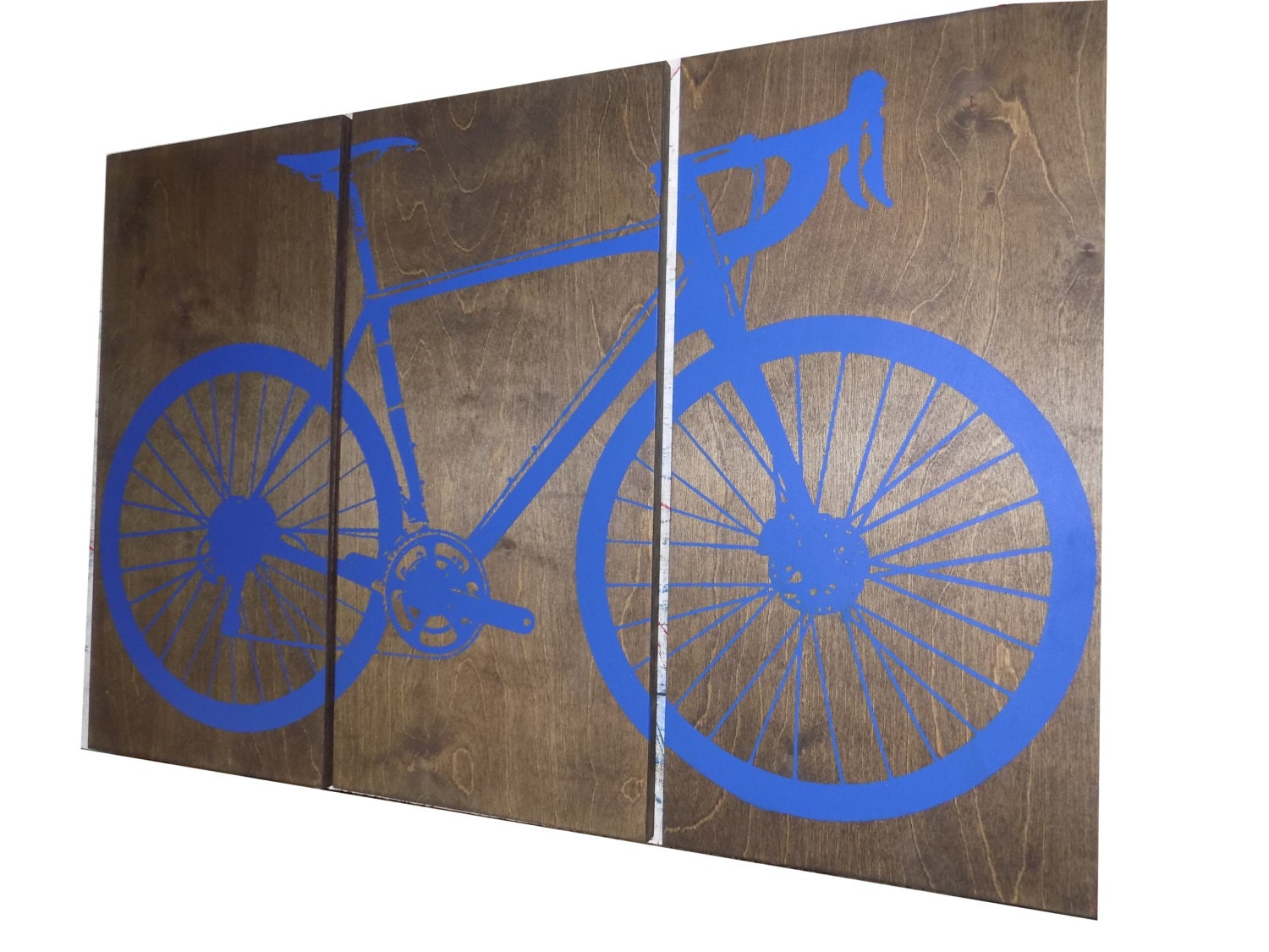 Road Bike / Street Bike Wall Art / Bicycle Screen Print / Wood Painting Wall  Art On Stained Solid BIRCH 3/4 Inch Thick U2022 Gift For Him / Her