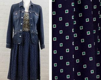 Pleaded Midi Skirt, Plus Size Vintage Skirt, Square Pattern Skirt, Size 14 Petite, Elastic Waist, Blue Skirt, Leslie Fay, A Line Skirt