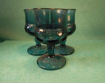 Vintage Goblets- Set Of 3 Vintage Blue Goblets 4 1/4 INch Tall , Vintage Barware