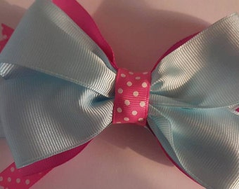 """Girls Hairbow Pink Blue Polkadot """"Cotton Candy"""" Kids Accessories"""