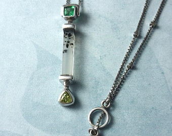 Montana Agate Necklace with Green Quartz and Peridot