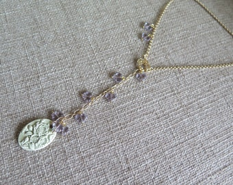 lavender and gold necklace, feminine necklace, delicate necklace, floral necklace, Y necklace, lilac and celadon necklace, flower necklace