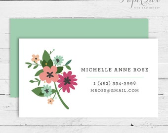 Calling Card #6 - Floral | Modern Flowers | Business Card | Social Correspondence | Mommy Card
