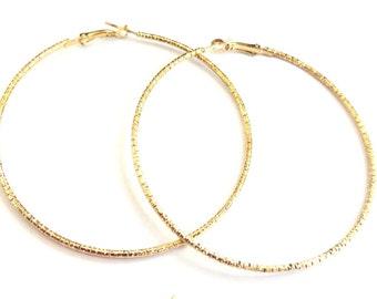 Hoop Earrings 2.75 inch Hoop Earrings Textured Hoops Gold tone Earrings