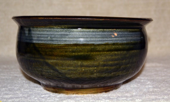 Punch Bowl, Salad Bowl, Soup Serving Bowl, Serving Bowl, Stoneware, Home Decor, Kitchen, Northern Woods Green, Blue, Hand Made