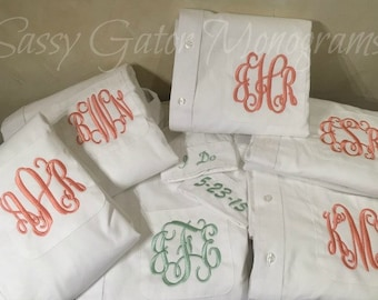 SALE Bride and Bridesmaids Oversized Monogrammed Button Down Shirts//SALE Button Down Oversized Boyfriend Shirt//Monogrammed Oxford Shirt
