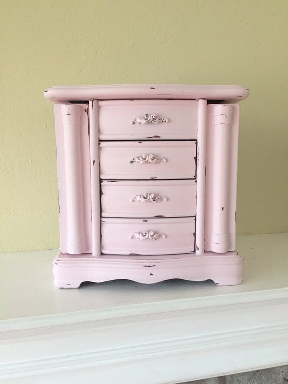 Large wood jewelry armoire box lots of storage pink