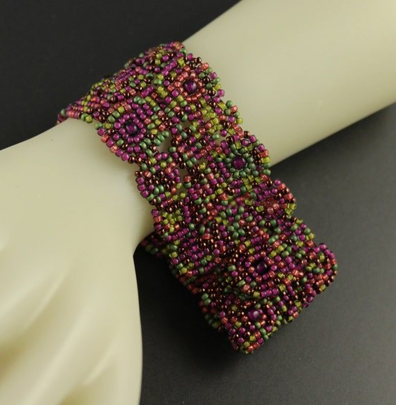 Vineyard.Womens Japanese Seed Bead.Large Bracelet.Amethyst.Green.Purple Squares are Beadwoven into a Casual and Comfortable Bracelet.Cuff