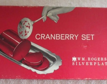 William Rodgers Silver Plate Cranberry Set