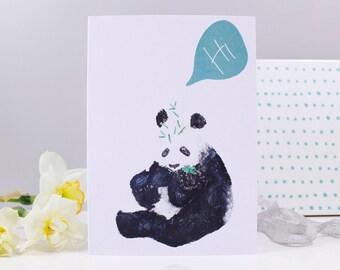 Panda Hi Card - Just because card - Panda card - Love panda card - Hello panda card