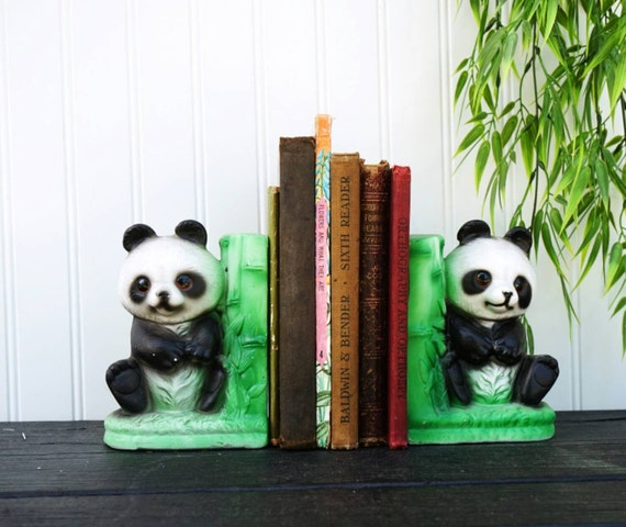 Panda bear bookends ceramic book end set bamboo asian for Panda bear decor