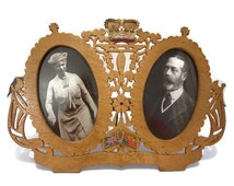 Antique double fretwork photograph frame HM King George V and Queen Mary circa 1920s