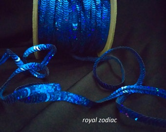royal blue zodiac (hologram) sequin trim--non-stretch and stretch