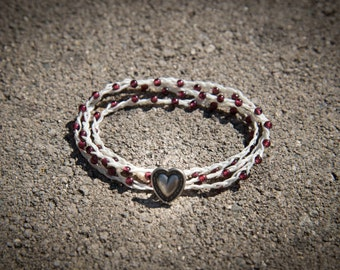Three Wrap Irish Linen Bracelet with Garnet Beads - REIKI Charged