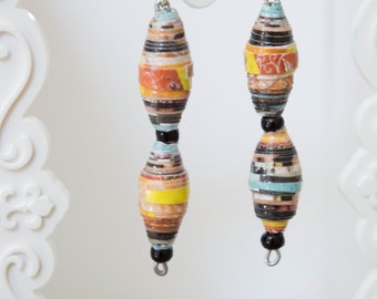 Recycled magazine dangle earrings-Orange, teal blue, black
