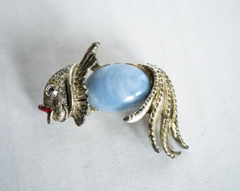 Vintage Silvertone Fish Koi Brooch