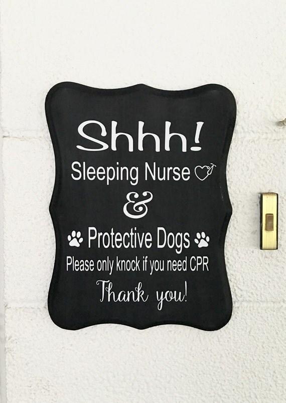 Handmade Sleeping Nurse Front Door Sign Do Not By