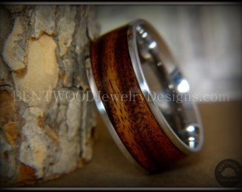Bentwood Ring - Rosewood  Wood Ring with 316 Surgical Grade Stainless Steel Comfort Fit Metal Core for a durable  wooden ring.