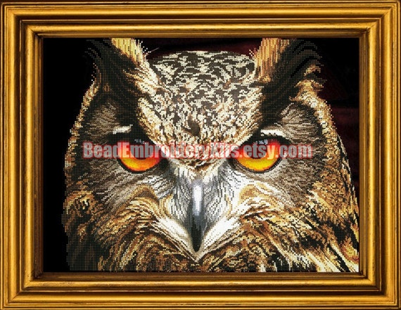 Wise Eagle-Owl DIY bead embroidery kit beaded painting craft set
