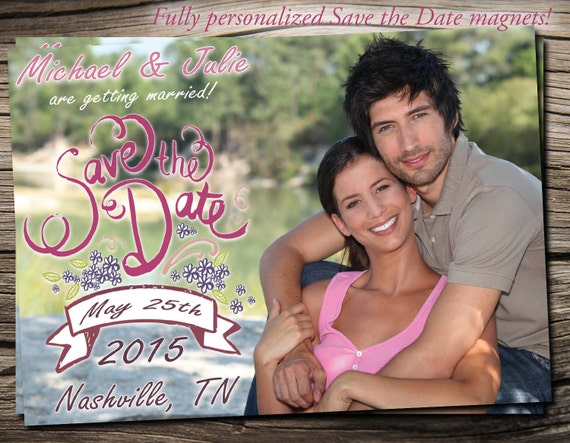 """Save The Date Magnet 5""""x7"""", Save The Date Announcement, Wedding / Engagement - S006"""
