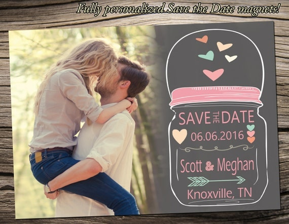 """Save The Date Magnet 5""""x7"""", Save The Date Announcement, Wedding / Engagement - S008"""