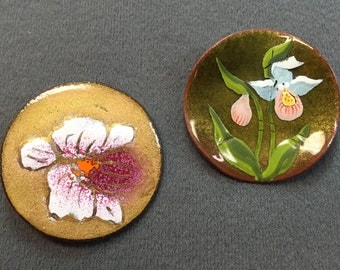 Two Handmade Enamel on Copper Brooches-Orchids
